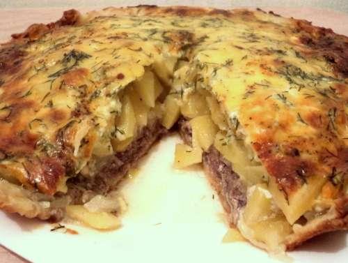 Открытый пирог с картошкой рецепт фото