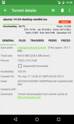 tTorrent - Torrent Client - 4PDA